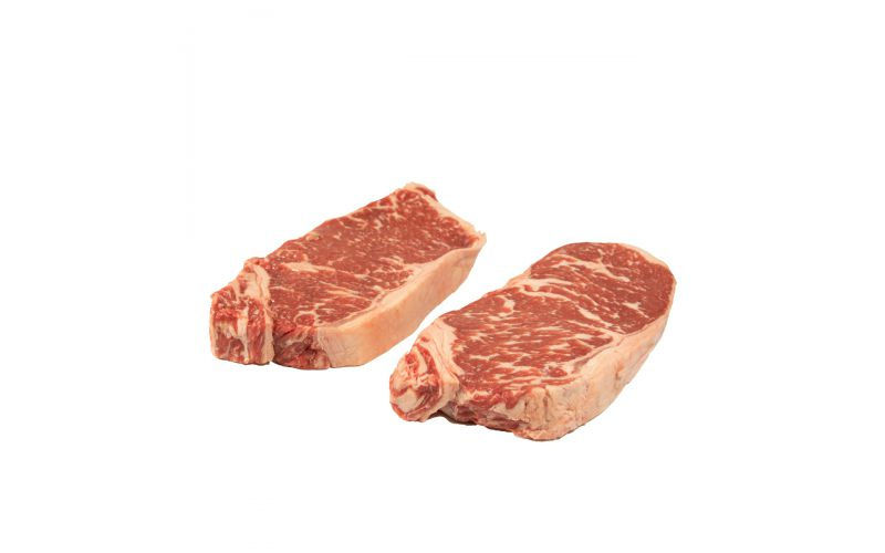 Prime Grass Fed Boneless Beef Strip Steaks 12 OZ