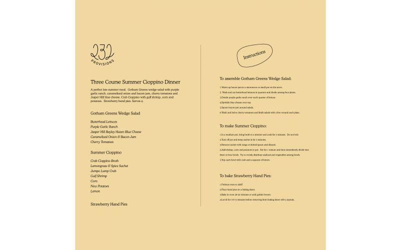 Three Course Seafood Cioppino